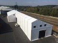 Textilní průmyslová hala 18x57 m, skaldovací stanové haly, Borgers CS